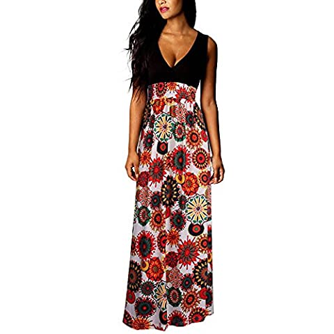 Col rond Longue Robe Sans Manches pour Femme - Rayures Taille Haute Mince Robe de Bohême Casual (Asie XL, Rouge)