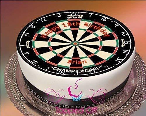 1 Kuchenaufsatz Dartscheibe 19cm Runde Schmelzglasur Essbar Bedruckt mit Benutzerdefinierten Gruß