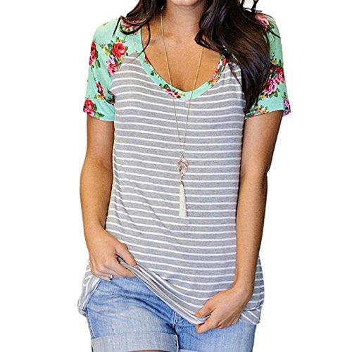 PAOLIAN Sommer Frauen Damen Baumwolle Bluse Floral Kurze Ärmel T-Shirt Tank Tops (L, Grau) (Neck Drape Top Ärmellose)