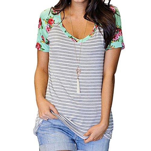 PAOLIAN Sommer Frauen Damen Baumwolle Bluse Floral Kurze Ärmel T-Shirt Tank Tops (L, Grau) (Band Dolman)