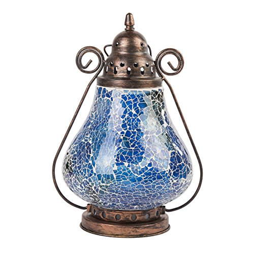 Slate & Rose Blue Mosaic Glass Lantern Height Approx 23cm
