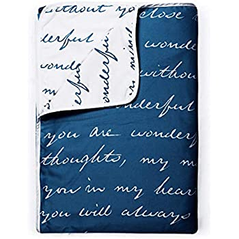 Divine Casa Natty Abstract Microfiber Reversible Single Dohar/Blanket - Classic Blue and White