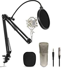 Pos Digital Computer Recording Mic With Pop Filter With Stand Bm 800 ( Use With 48V Phantom Power )