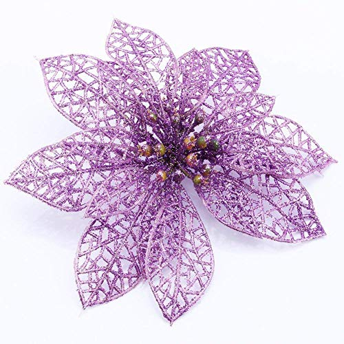 Yosoo 6ST Christmas Flower Arrangements Kränze und Weihnachtsschmuck Christbaumschmuck Perlen (Lila)