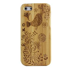 KolorFish Wooden Carving Real Wood Case Back Case Cover iPhone 5, iPhone 5S, iPhone SE (BIRD)