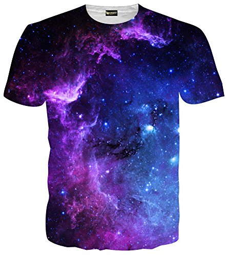 Pizoff Unisex Digital Print Schmale Passform summer cool bequem T Shirts mit Mond Universum Galaxis 3D Muster (Mond T-shirt)