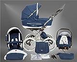 True Love Classic One Plus Kinderwagen Eco Leder (Autositz & Adapter, Regenschutz, Moskitonetz, Speichenluftreifen) 02 Eco Navy Blue