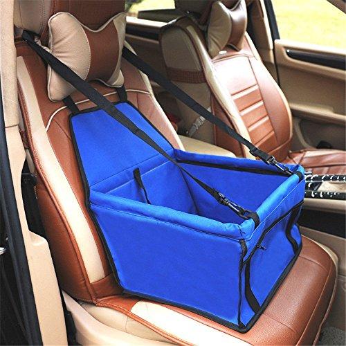 ACZZ Portador de asiento de auto para perro plegable Mascota Gato Carrito de seguridad de seguridad para el viaje Arnés del arnés Bolsa de transporte para mascotas Portátil con clip de seguridad Corr