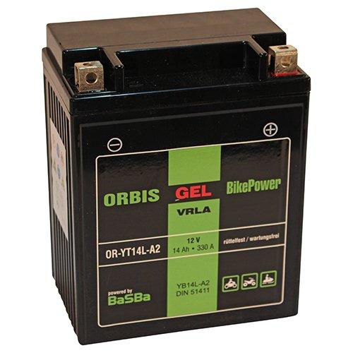 Orbis Gel12-14L-A2 Motorradbatterie 51411 - YB14L-A2 12 Volt 14 Ah 330 A