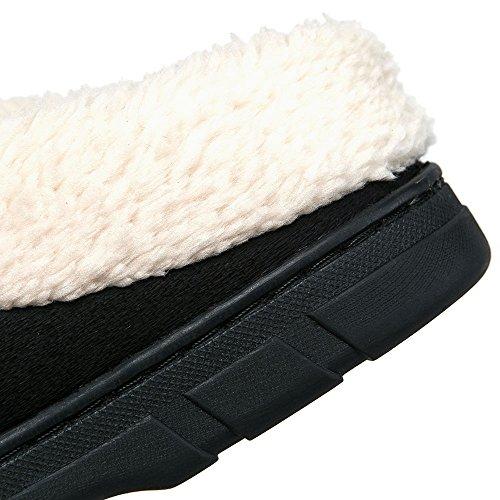 JACKSHIBO Herren Herbst Winter Atmungsaktive Hausschuhe Wärme Baumwolle Rutschfest Pantoffeln Indoor Slippers Schwarz