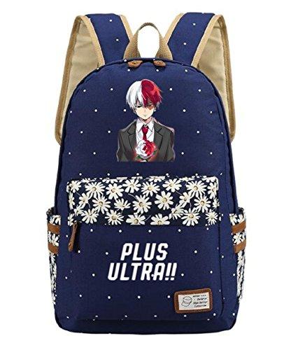 AUGYUESS My Hero Wissenschaft Anime Cosplay Schultasche Daypack Schultertasche Schultasche Rucksack Medium Dark Blue 6