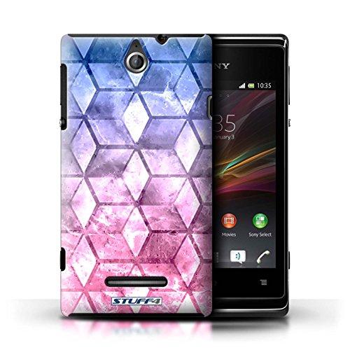 Kobalt® Imprimé Etui / Coque pour Sony Xperia E / Jaun/Bleu conception / Série Cubes colorés Bleu/rose