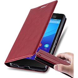 Cadorabo Coque pour Sony Xperia M5 en Rouge DE Pomme - Housse Protection avec Fermoire Magnétique, Stand Horizontal et Fente Carte - Portefeuille Etui Poche Folio Case Cover