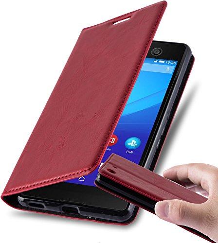 Cadorabo Hülle für Sony Xperia M5 - Hülle in Apfel ROT - Handyhülle mit Magnetverschluss, Standfunktion & Kartenfach - Case Cover Schutzhülle Etui Tasche Book Klapp Style