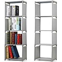 Popamazing 4 Tier Kids Bookcase Garment Storage Shelves Organizer Children Bedroom Display Shelving Unit (Gray)