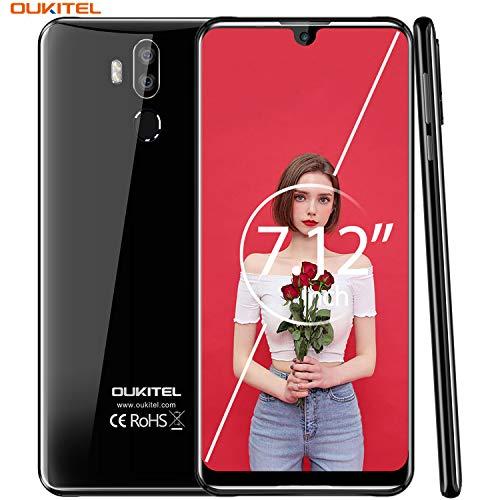 """【7.12"""" FHD+ Pantalla】 OUKITEL K9 Dual 4G LTE Smartphone Libre,Batería de 6000 mAh con Carga rápida de 30W,Helio P30 2.3GHz Android 9.0,4GB RAM+64GB ROM,IMX298 16MP cámara,Global Version(Negro)"""
