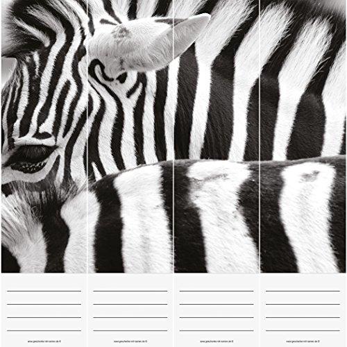 Geschenke mit Namen 1459 Ordner Rücken STRIPES, Etiketten (selbstklebend, je 7 cm breit) ergeben zusammen ein großes Einzelbild auf 4 Ordnern weiß Animal Print Sticker