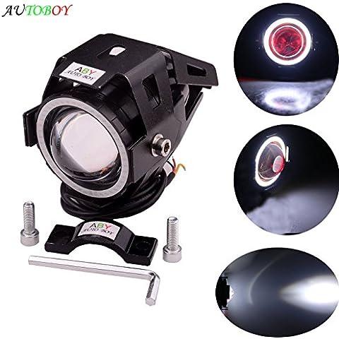 ABy Alto del motociclo di potenza del faro del LED CREE U7 LED della nebbia della lampada DRL Spotlight diurne con luce di Angel Eyes(bianco)