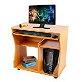 Modern Computer Desk Study Workstation with Keyboard Tray for Home and Office with Sliding Keyboard and 2 Shelves, beech
