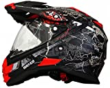 MX Enduro Quad Helm Road Pirate matt schwarz rot mit Visier und Sonnenblende L