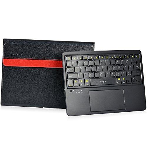 LEICKE Sharon Galaxy Tab 4 10.1 - Schutztasche mit herausnehmbarer Tastatur | Integriertes Multitouch-Touchpad | Deutsches QWERTZ Layout