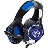 Beexcellent Stereo-Gaming-Headset, Rauschunterdrückung, 3,5-mm-Stecker, Kopfhörer mit Mikrofon und LED-Licht, Bass-Surround (Y-Splitter im Lieferumfang enthalten)