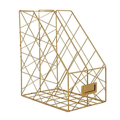 Zosip file desktop di storage rack durevole rack in ferro battuto, desktop, giornale, rivista, porta file dorato, rack da ufficio, rack di archiviazione (color : gold, size : 29x24.5x16cm)