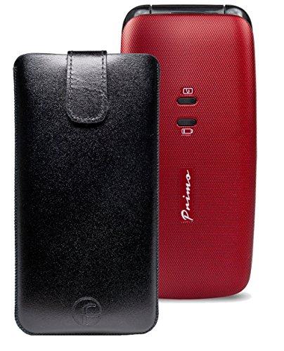 Original Favory Etui Tasche für / DORO Primo 401 / Leder Handytasche Ledertasche Schutzhülle Case Hülle *Speziell - Lasche mit Rückzugfunktion* in schwarz