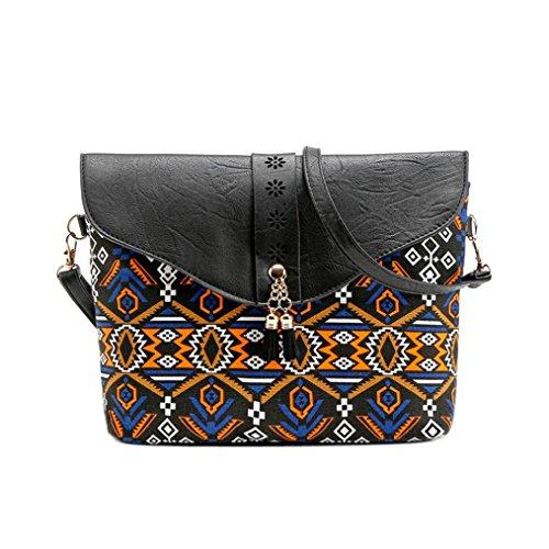ESAILQ Embrayage en cuir de grande capacité Débardeur décontracté de patchwork Porte-monnaie porte-monnaie pour femmes (Noir)