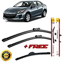 Set of 3 flat blade wiper blades for M A Z D A 3 2013 rear wiper FREE of charge