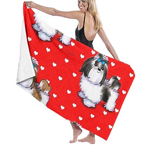 ncnhdnh Shih Tzu Love Red Microfiber Pool Beach Towel Quick Dry Beach Towel for Adult 32 X 52 Inch -