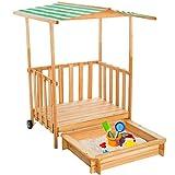 TecTake Sandkasten mit Dach Spielhaus Spielveranda Holz Sonnenschutz - diverse Farben - (Rot   Nr. 401804)