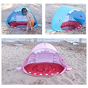 Waroomss Tenda da Spiaggia, Tenda da Sole E Piscina Pop Up, Ripari Solari con Protezione UV 50+, Tenda da Gioco A Forma di Squalo Portatile, Tenda per Bambini per Piscina Coperta per Bambini