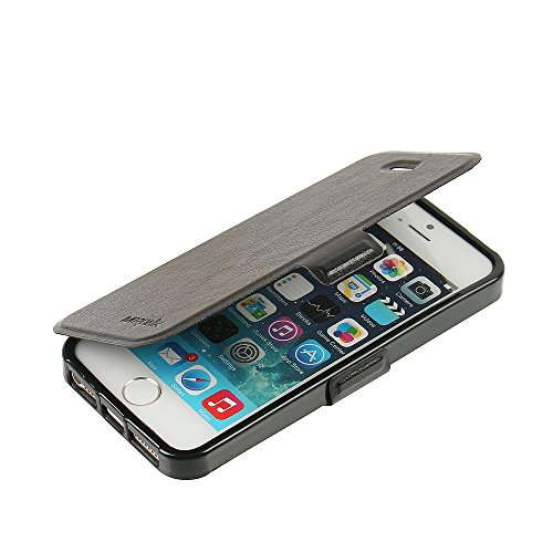 MTRONX für Apple iPhone 5s Hülle, iPhone 5 Hülle, iPhone SE Hülle, Case Cover Schutzhülle Tasche Etui Klapphülle Magnetisch PU Leder Weich TPU Folio Flip Ständer und Kartenfach - Schwarz(MSC-BK) Iphone Horizontal Pouch