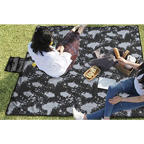 BigHappyShop Picnic Blanket Acid Wash Waterproof Extra Large Outdoor Mat Camping Or Travel Easy Carry Compact Tote Bag 59