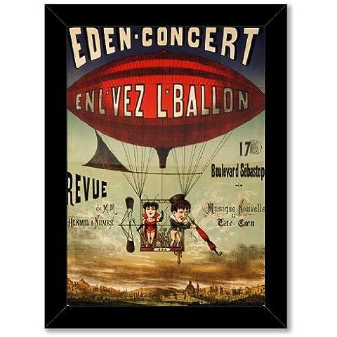 poster con stampa artistica: dirigibile palloncino Basket Francia Eden Concerto Zeppelin antico Circus (formato A3, dimensioni: 29,7x 42/11,7x 16.5in, Carta fotografica lucida, Telaio in legno nero, pronto da appendere)