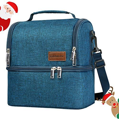 Canway borsa pranzo borsa frigo impermeabile 2 scomparti borsa termica capacità da 8l con tracolla rimovibile lunch bag per ufficio, scuola, campeggio e picnic, blu