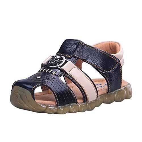 CHENGYANG Sandales Bout Fermé Semelles Souples - Confort Chaussures Bébé Marche Bébé Garçon Noir Beige
