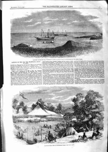 FÊTE de 1859 de la MER ROUGE de TÉLÉGRAPHE de CÂBLE PUITS d'ADEN TUNBRIDGE [Cuisine et Maison] par original old antique victorian print