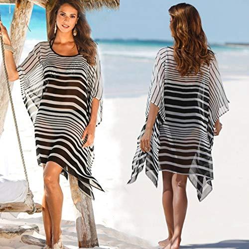 LHSTWQU Strandkleid Dolman Sleeve Cover Up Bikini Frauen Chiffon Streifen Gedruckt Cover-ups Strand TragenNeue Strand Sarongs Dolman Sleeve-rock