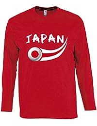 Supportershop – Camiseta Japón L/S para Hombre, Rojo, FR: 2 XL