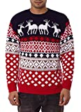Jiayiqi, maglione natalizio unisex, stile vintage anni '70 4 Reindeer NAVY Large