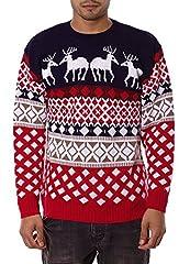 Idea Regalo - Jiayiqi, maglione natalizio unisex, stile vintage anni '70 4 Reindeer NAVY Large