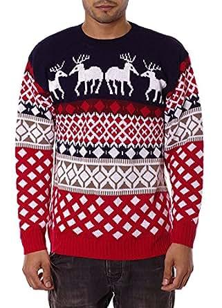 Mens Unisex 70's Jumpers Sweater Retro Christmas Knitwear Top (S, 4 Reindeer NAVY)