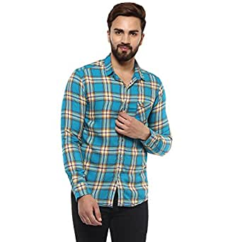 Mufti Button Down Checkes Full Sleeves Shirt