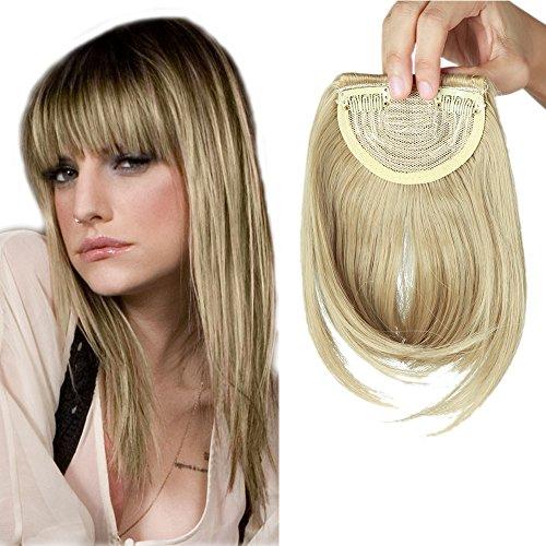 Extension frangia capelli clip frangetta finta frontale bangs hair fascia unica corta capelli lisci 30g biondo cenere