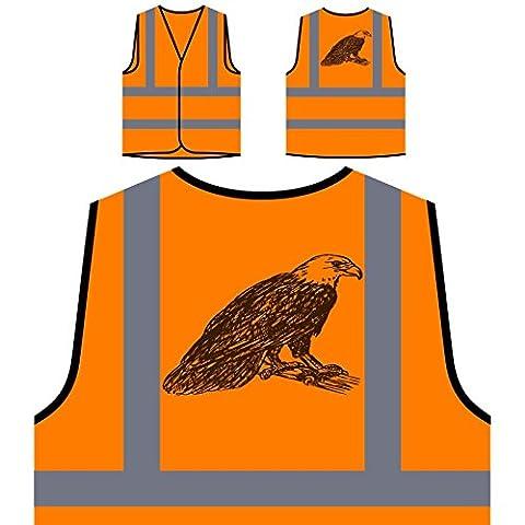 Neuer Adler Wild Schön Personalisierte High Visibility Orange Sicherheitsjacke Weste m219vo