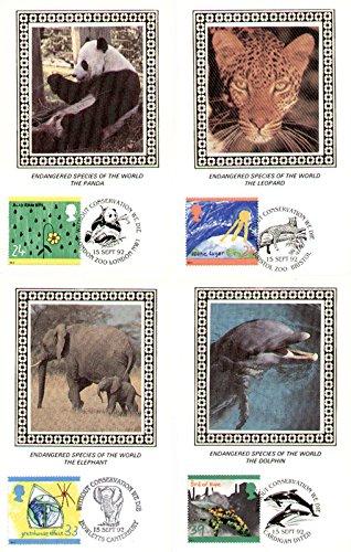 1992il verde tema Benham seta Cards con primo giorno di rilascio (set di 4cartoline)