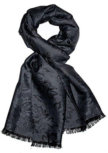LORENZO CANA Herren Luxus Schal Luxustuch elegant gewebt in Damast Webung florales Paisley Muster aus Viskose mit Seide 55 cm x 190 cm - 8905811