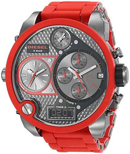 Diesel-DZ7279-Reloj-analgico-digital-de-cuarzo-para-hombre-correa-de-plstico-color-rojo-cronmetro-agujas-luminiscentes